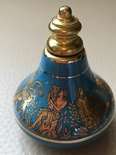 Vintage Retro Mania Blue Ceramic Gilded Perfume Screw Top Bottle Atomiser