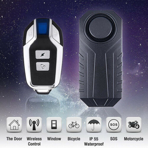 Loud 113dB Wireless Anti-Theft Vibration Motorcycle Bike Security Alarm Remote❤❤
