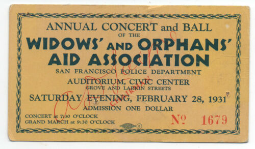 1931 Ticket to Annual Widow's & Orphans Ball San Francisco CA