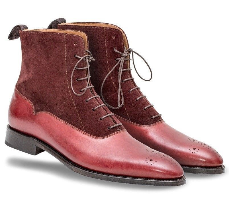 MENS FASHION HANDMADE SUEDE LEATHER FORMAL CASUAL CHELSEA BURGUNDY ANKLE BOOTS