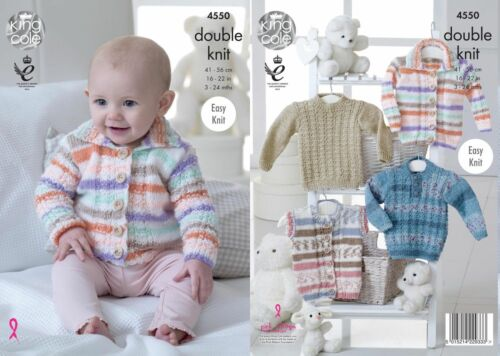 "King Cole DK Knitting Pattern 4550:Easy Knit Cardigan,Gilet /& Sweaters,16/""-22/"""