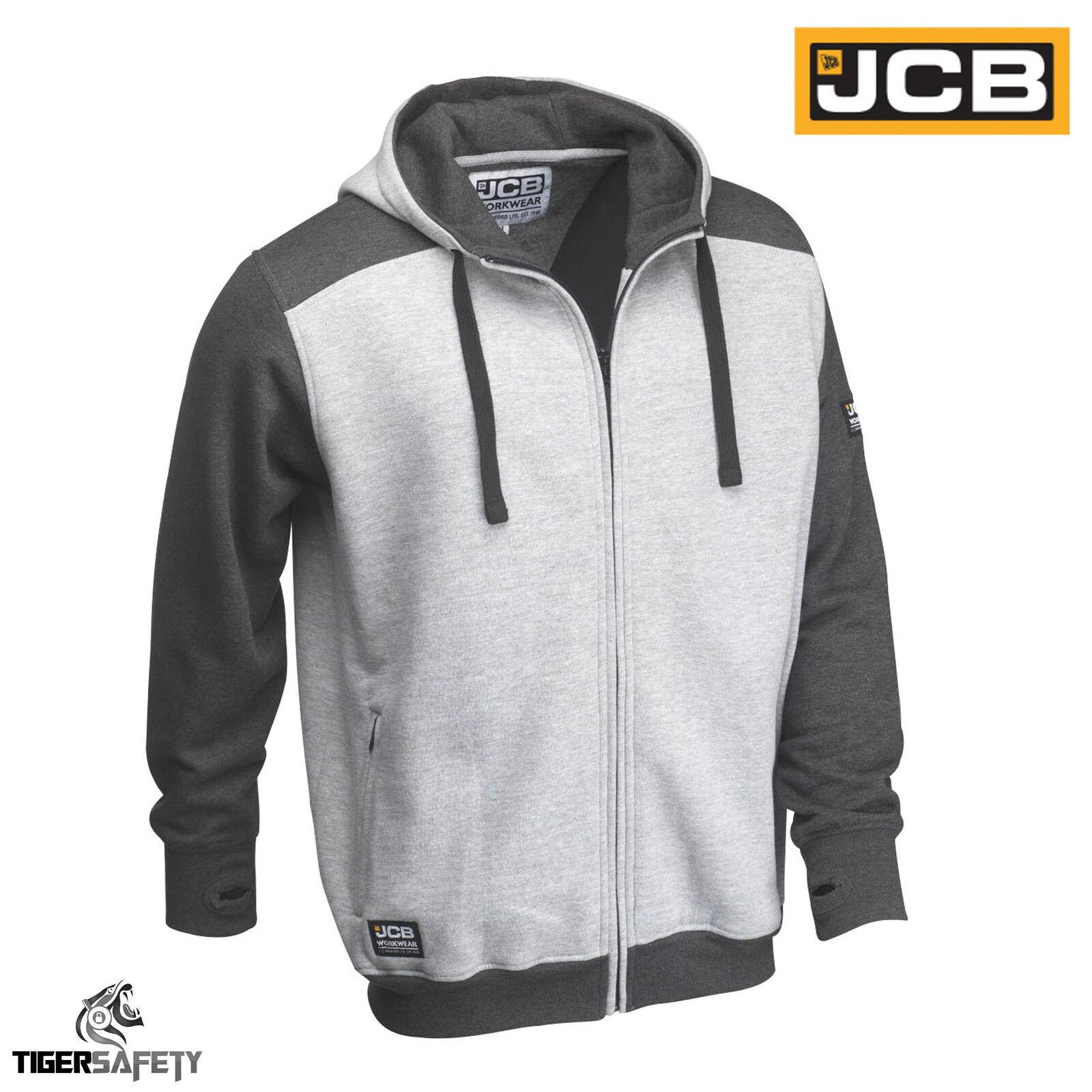 JCB Trade Two-Tone Grey Hooded Top Hoodie Sweatshirt Workwear Work Top Hoody