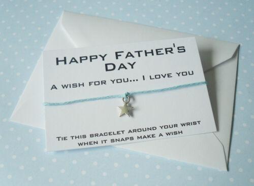 Feliz Día Del Padre encanto estrella deseo Pulsera Día Del Padre Regalo /& Envelope
