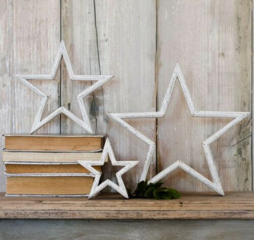 Shabby Chic White LARGE Mantle star Shelf Sitter Ornament Wooden Mango Wood