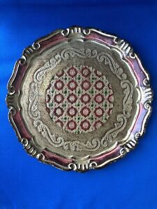 Vintage-Ornate-Decorative-Wooden-Tray-Very-Light-Wood-Carved-Coloured-Artist-PP