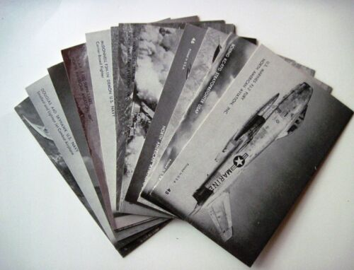 1 Lot of 16 Vintage Arcade Cards of Military Airplanes In B&W w Description
