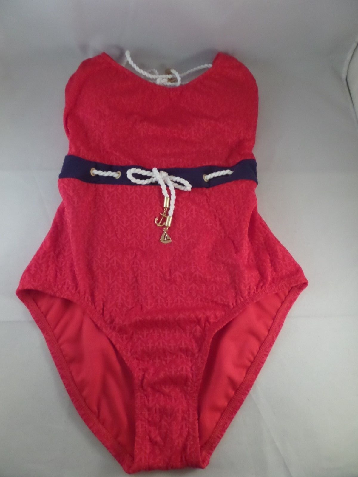 NWT Sperry Top-Sider Womens Ahoy Matey Halter 1pc Swimsuit Sz M MSRP  110