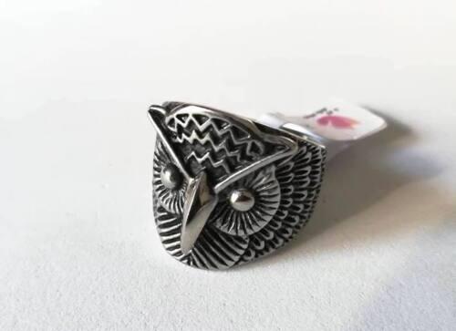 Anello in Acciaio Inox Maschile Chevalier Gufo Civetta Owl Portafortuna Glam Hot