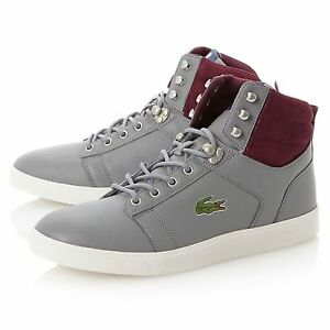 fe880721c4fd NEW LACOSTE Mens Orelle Hi-Top Sneakers Leather Shoes Gray Purple US ...