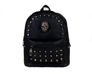 MINI-GOTHIC-SKULL-HEAD-GOTHX-Black-Backpack-Rucksack-Steam-Punk-Rock-Goth-Bag