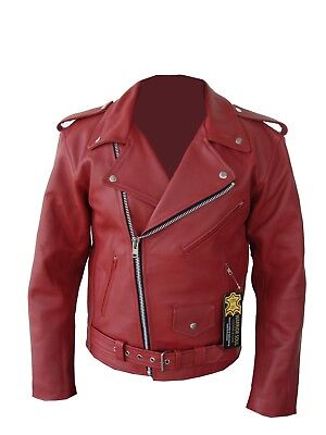 Mens Perfecto Brando Red Cowhide Milled Leather Motorcycle Jacket S TO 10XL