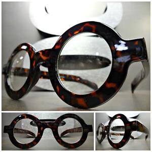 f16783b07c VINTAGE RETRO Style Clear Lens EYE GLASSES Round Thick Tortoise ...