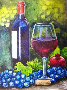 Grapes and Wine Painting by Kim Lockman |Grapes Wine Bottle Artwork