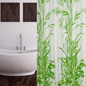 Cortina-de-ducha-tela-240x180-Blanco-Verde-Patron-hojas-incl-anillas-240-x
