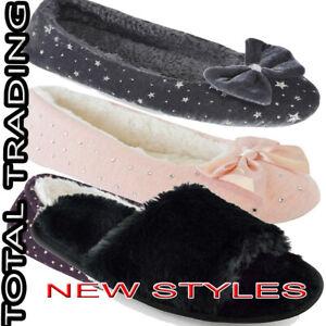 Womens  Slip On Ballet House Shoes Ballerina Slippers Ladies SLIDERS FAUX FUR