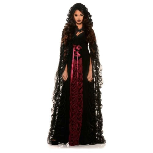 Midnight Black Mist Gothic Costume Women/'s Fancy Dress /& Cape Witch Vampiress SM