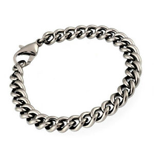 New-7-5-Solid-Titanium-Curb-Chain-Bracelet-Mens-Jewellery