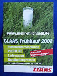 0212) Claas Frühkauf 2002-nourriture Récolte Chargeuses Déversaient-prospectus Brochure 2001-afficher Le Titre D'origine