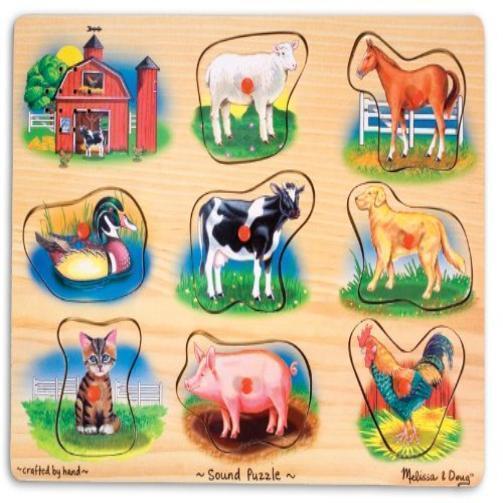Toddler Toy Melissa & Doug Farm Sound Puzzle Kids Play Game Pretend Pre-School