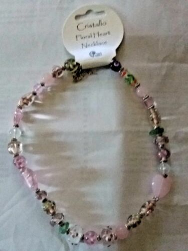 Brand new british fossil Cristallo pink glass flower bead//heart necklace