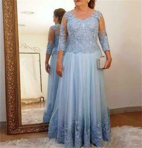 Tulle V-neck 3/4 Sleeve Mother of the Bride Dress Lace Evening Party Formal Gown