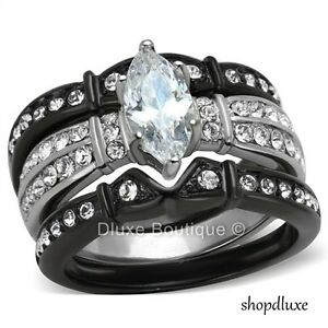 image is loading 2 50 ct marquise cut cz black stainless - Womens Black Wedding Ring Sets