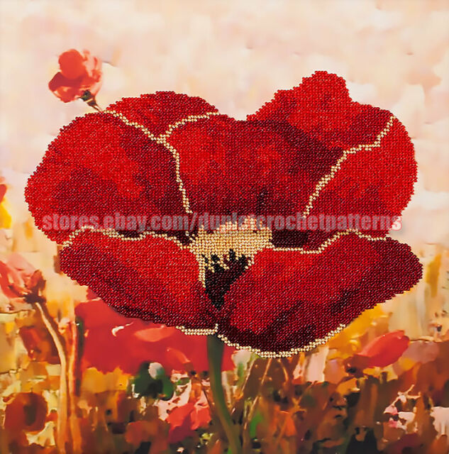 Red Poppy beaded embroidery stitching beading kit DIY