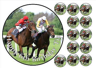 Personalised Horse Racing Edible Cake Topper Easy Peel Icing