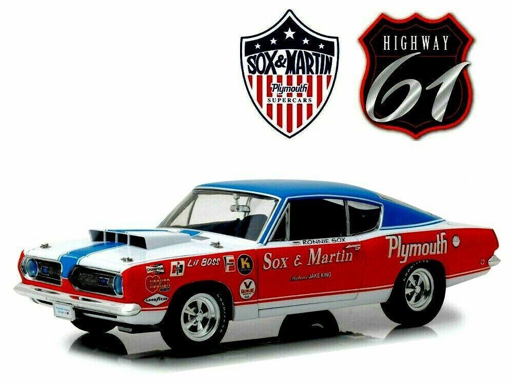 1968 Plymouth Barracuda Sox & Martin Hemi NHRA 1 18 Scale Diecast SUPERCAR1 NIB