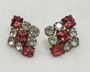 Signed P /& F Vintage Rhinestone Bracelet and Earrings