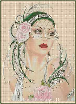 Counted Cross Stitch ART DECO LADY w/ Green Hat/Pink Roses COMPLETE KIT #2vb-3b