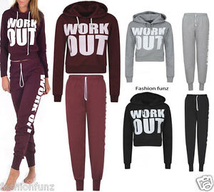 New-Ladies-Work-Out-Sweat-Hooded-Crop-Tops-Womens-Jogging-Bottoms-Tracksuit-Set