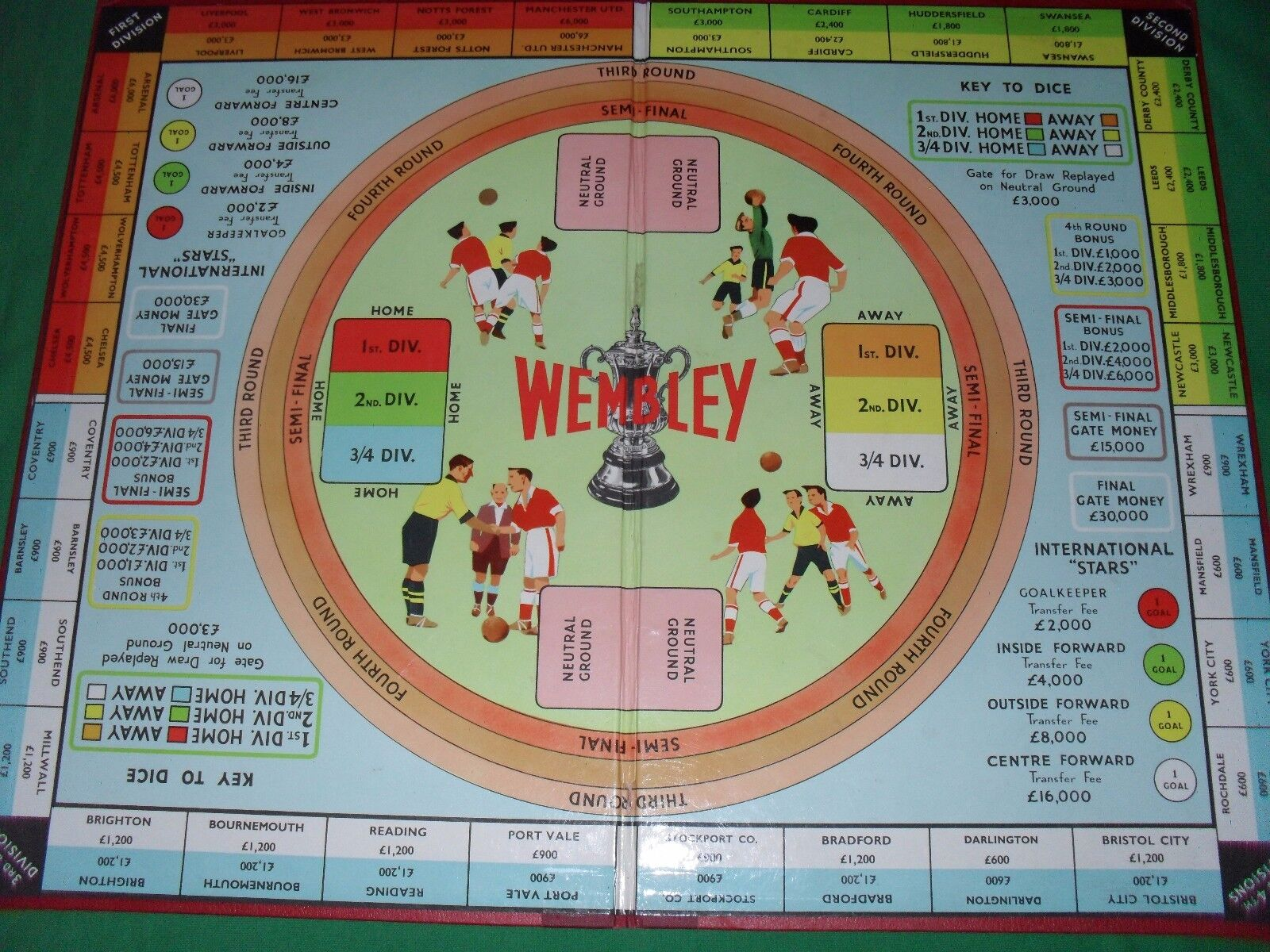 Wembley Wembley Wembley Football Cup Tie Vintage Ariel Board Game 1a4524