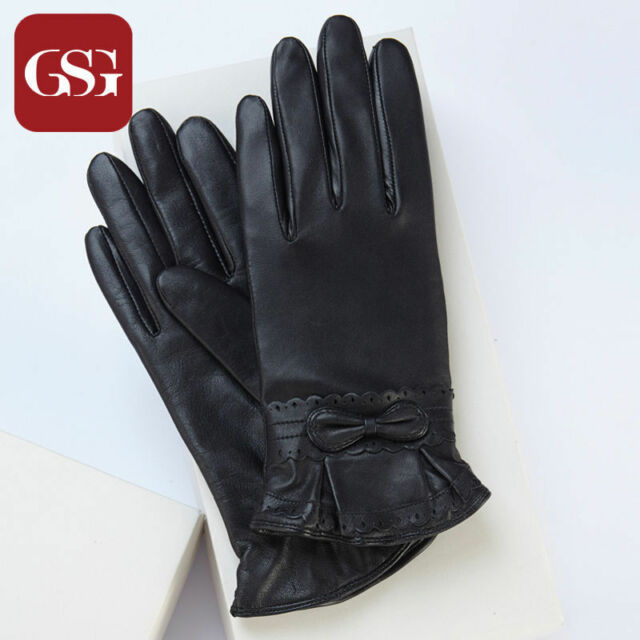 8214b00dcf316 GSG New Ladies Real Goat Nappa Leather Gloves with Bow Knot - BLACK - Size 7