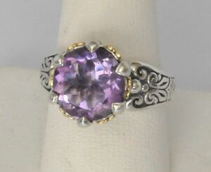 Konstantino-Ring-Size-6-Faceted-Amethyst-Sterling-Silver-18K-Yellow-Gold-New