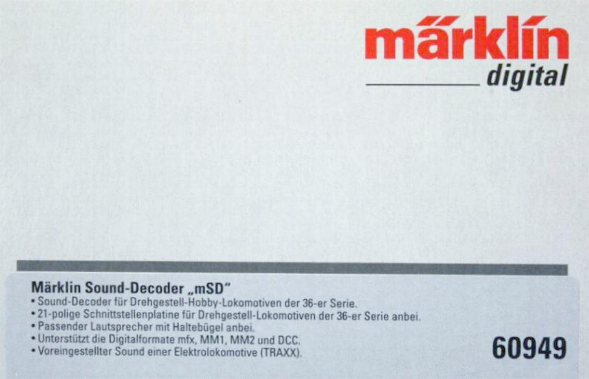 Märklin 60949 H0 - mSoundDecoder Hobby- E- Lok mit mit mit Leiterplatte  NEU & OvP  | Sehr gute Farbe  9a21f4