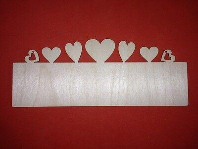 2 x LONG top HEARTS PLAQUE BLANK WOODEN PLAIN UNPAINTED HANGING DOOR WALL SIGNS