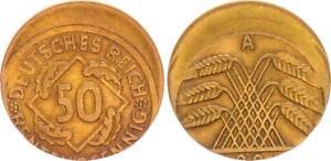 Weimar Lack Coinage: 50 Pfennig 1924 A 20% Dezentriert, Vf-Xf (46034)