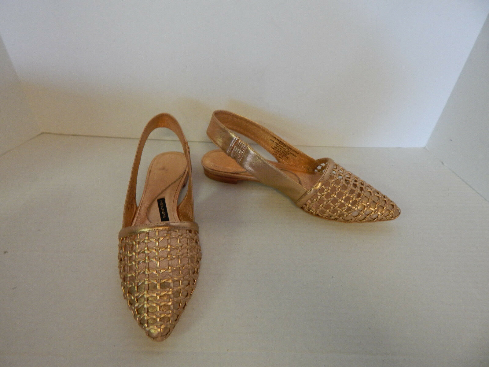 ANTHROPOLOGIE sz 38 7.5 PIED JUSTE FLATS ROSEGOLD LEATHER SLINGBACK  228