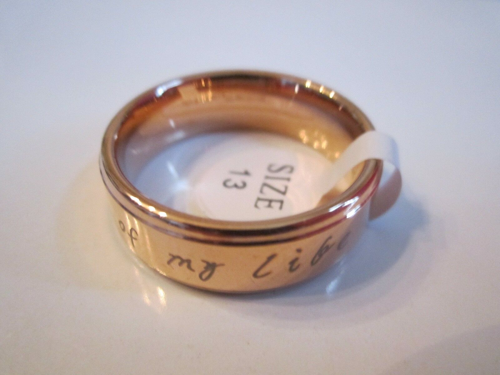 TUNGSTEN RING & pink gold PLATING  YOU ARE THE SUNSHINE OF MY LIFE  SIZE 13 (16g