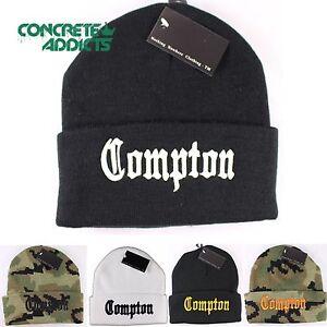 bc014e7864b Black   White Compton Vintage NWA Dre Cube Cuffed Beanie Beanies Hat ...