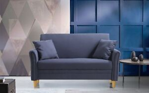 Modern-Small-Furniture-Living-Room-Loveseat-Sofa-2-Accent-Pillows-Grey