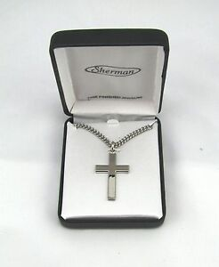 Rhodium-Plated-Mens-Silver-Cross-Fashion-Necklace-w-24-034-Chain-in-Gift-Box-MC268