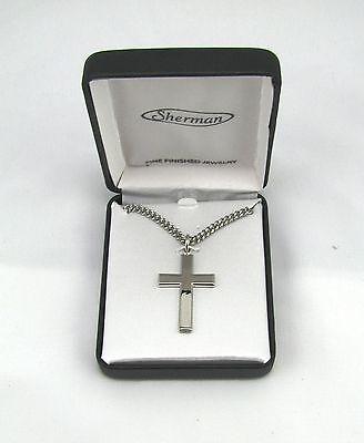 "Rhodium Plated Mens Silver Cross Fashion Necklace w 24"" Chain Gift Box MC268-A"