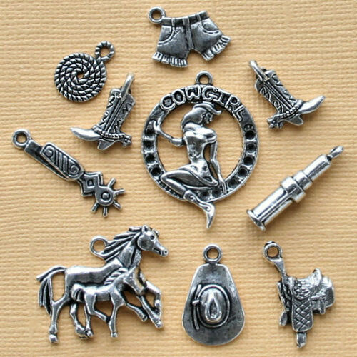 COL180 Cowgirl Charm Collection Antique Silver Tone 10 Charms