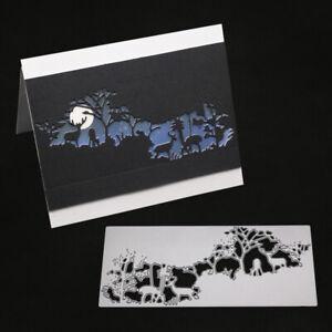 Stanzschablone-Elch-Gestruepp-Wald-Baum-Weihnachts-Geburstag-Hochzeit-Karte-Album