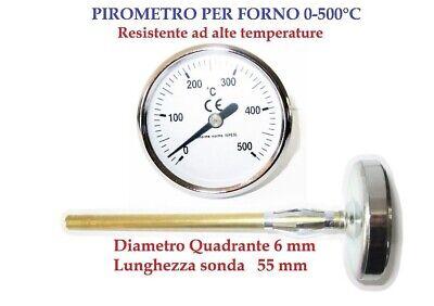 PIROMETRO TERMOMETRO PER FORNO BIMETALLICO CON SONDA DA 55 mm PROFESSIONALE