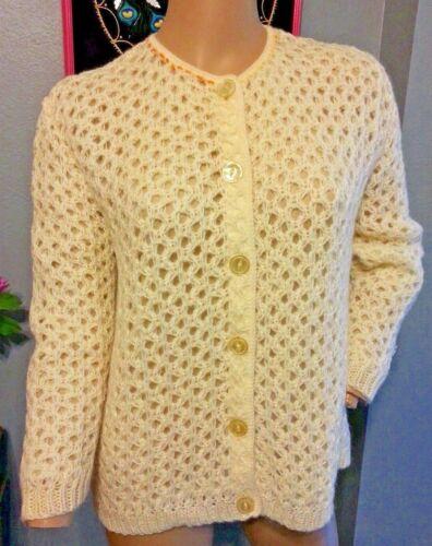 Vtg 50's Sidney Gould Creme 50% Mohair Knit Cardig