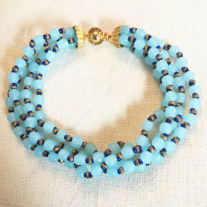DELILLO-blue-art-glass-4-strand-necklace-VINTAGE-COUTURE-MINT-T2