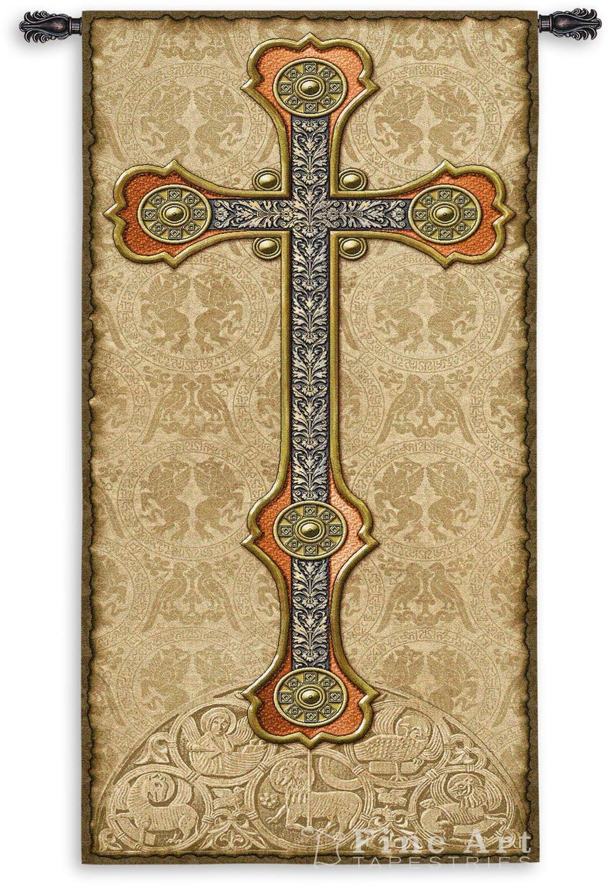 60x26 GOTHIC CROSS Medieval Tapestry Wall Hanging